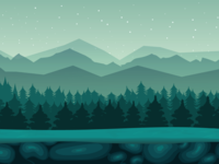 Green forest night background
