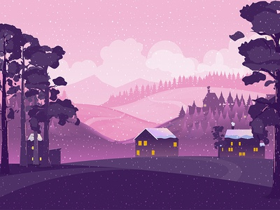 Winter Landscape wallpaper painting sketch houses forest hill illustration field countryside violet vector nature