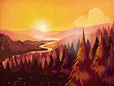 Nature in dusk II illustration orange dark orange cartoon trees mountains river forest vector sunset banner