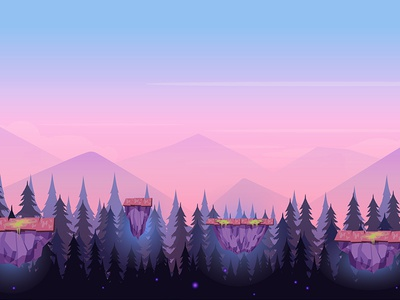 Сartoon game bg level jump illustration hill ground forest flora design cute cartoon background 2d