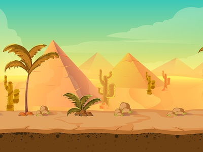 Desert game bg stones cactus piramides design illustration abstract graphic horizon cactuses palm background desert