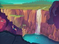 Blue waterfall illustration