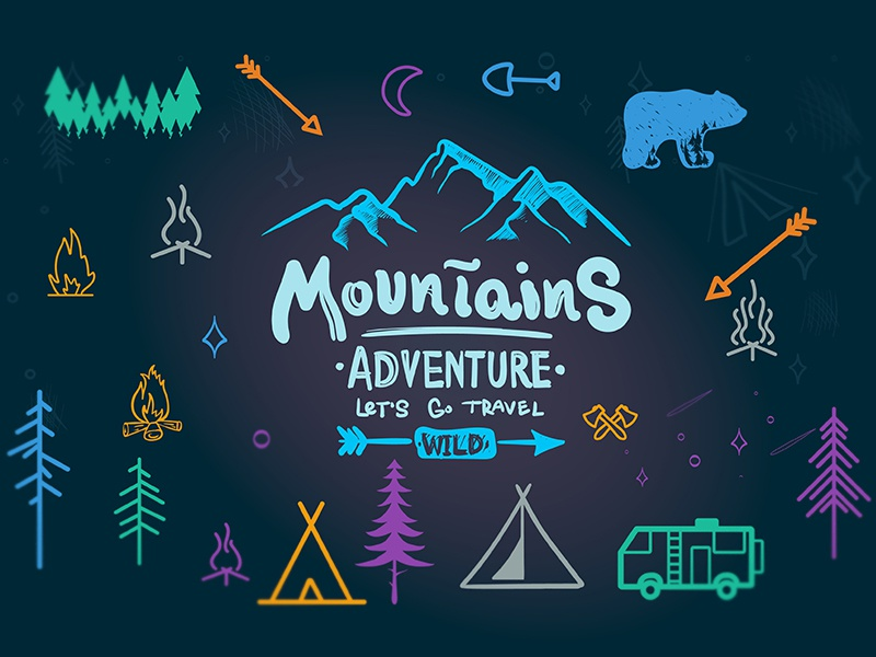 Camping Icons Freebie! free mountains typography plant based outdoors lettering illustration bear icons hand drawn camp adventure