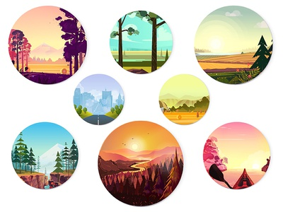 Collection of round illustrations kayaking active water nature trees set collection icons season winter spring autumn