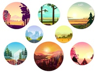 Collection of round illustrations