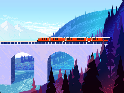 Nature landscape banner web design violet texture norway digital pink blue hills landscape vector mountains forest bridge train