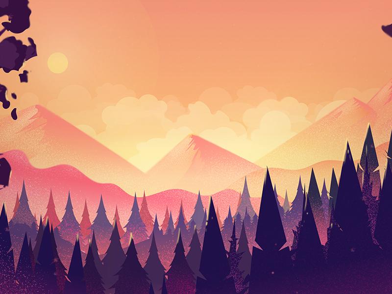 Mystery forest landscape digital landing cartoon nature landscape design landscape forest mountain illustration
