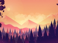Mystery forest landscape