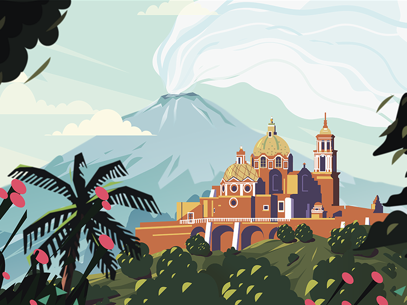 Mexico invite palm trees colorful composition vector outdoor nature mountains hand drawn digital art mexico illustration landscape