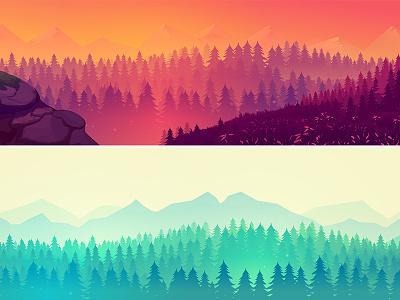 Landscapes forest mountains webbanner digitalart hand drawn outdoor design background nature landscape illustration