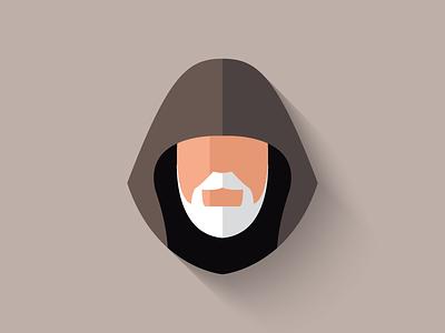 Obi-Wan Kenobi Flat Design Icon icon icon design obi-wan kenobi obi-wan obiwan character design long shadow design flat design star wars
