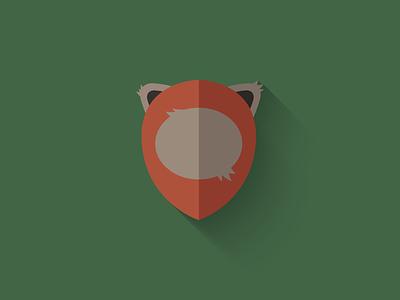Ewok Flat Design Icon endor ewok icon design icon star wars long shadow design flat design character design