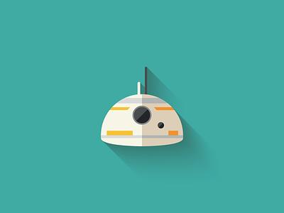 BB8 Flat Design Icon droid bb8 icon design icon star wars long shadow design flat design character design