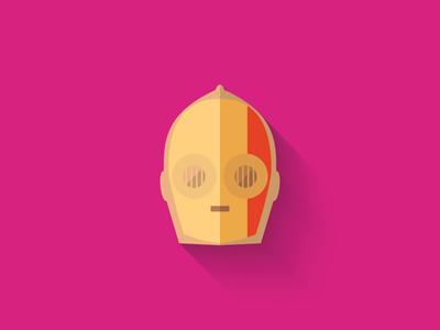 Red C3PO Flat Design Icon