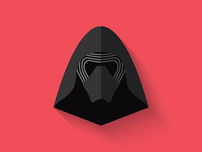Kylo Ren Flat Design Icon force awakens dark side ben solo kylo ren icon design icon star wars long shadow design flat design character design