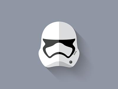 First Order Stormtrooper Flat Design Icon force awakens stormtrooper first order icon design icon star wars long shadow design flat design character design