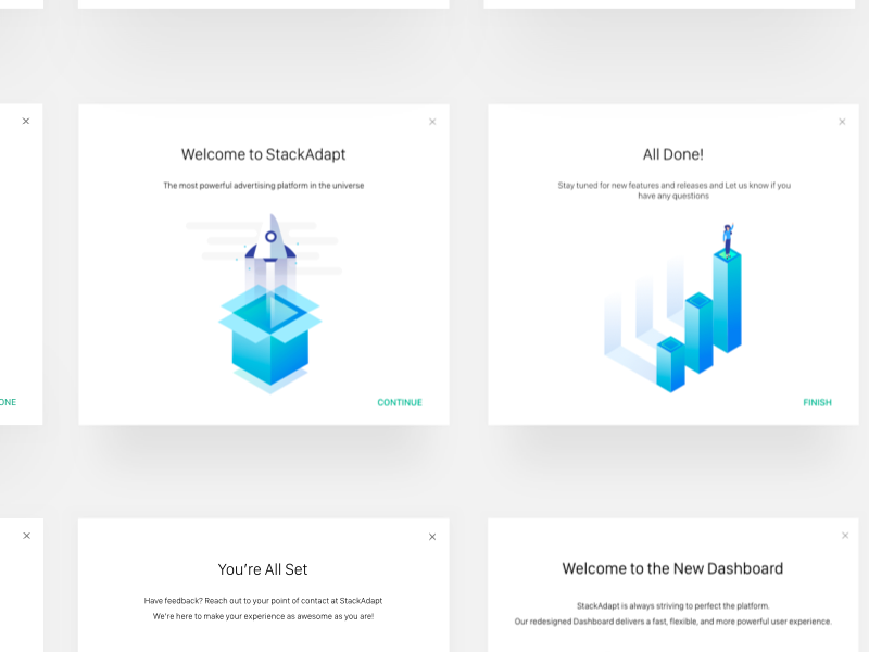 Onboarding Modals ux ui product daily ui blue gradient illustration desktop modal cute