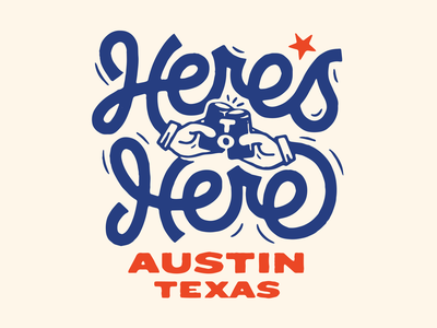 Here's to Here local beer can cheers brewery texas austin illustration hands lettering friday beer