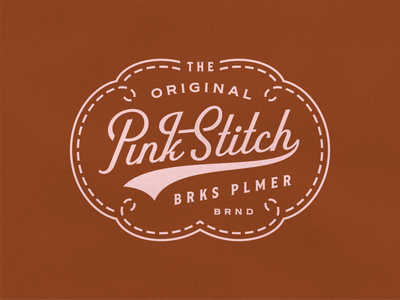 Pink Stitch texture west coast west california lettering pink full grain leather thread stitch badge palmer brooks