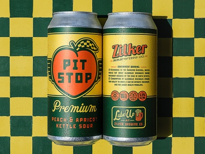 PIT STOP packaging lube oil can oil motor oil racing flag peach script lettering loose pattern checkered pit stop zilker austin beer