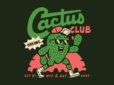 Cactus Club illustraion badge sun mesa sticker texture lettering hand drawn tuesday west sunset texas austin south cactus