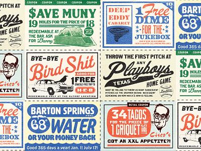 Austin Coupons badge joke golf restaurant bar baseball coupon sheet illustration thursday local texas austin texture typography type vintage retro coupon