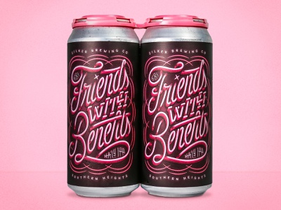 Friends with Benefits craft local texas austin pink monoline flourish neon grunge texture custom type type custom lettering lettering monday packaging can beer
