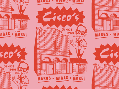 Cisco's lettering type ciscos pink rough texture tuesday throwback vintage retro illustration badge branding restaurant mexican food tex-mex texas austin local