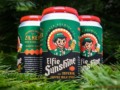 Elfie Sunshine brewing zilker badge stout blackletter elf holiday christmas local texas austin packaging beer can wednesday logo illustration custom type lettering type beer