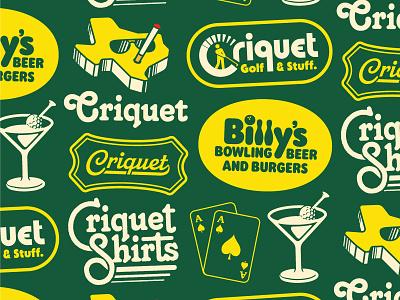 Criquet Stuff clothing criquet golf beer bar retro vintage logo type austin texas lettering apparel flash sheet badge