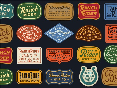 Ranch Rider flash sheet western west tequilla canned beverage spirits ranch ranch rider austin texas lettering texture logo type badge