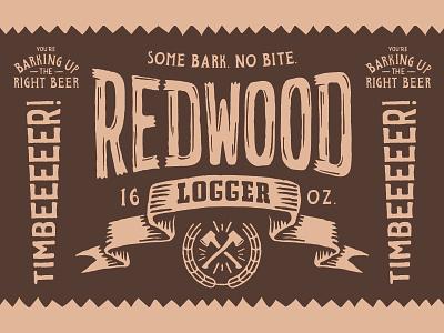 Redwood Logger Dribbble badge wild outdoors bark label texture wood type beer