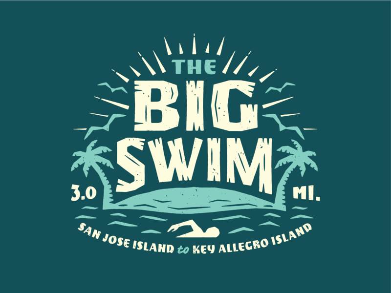 The Big Swim big swim lockup charity texas water texture type badge logo