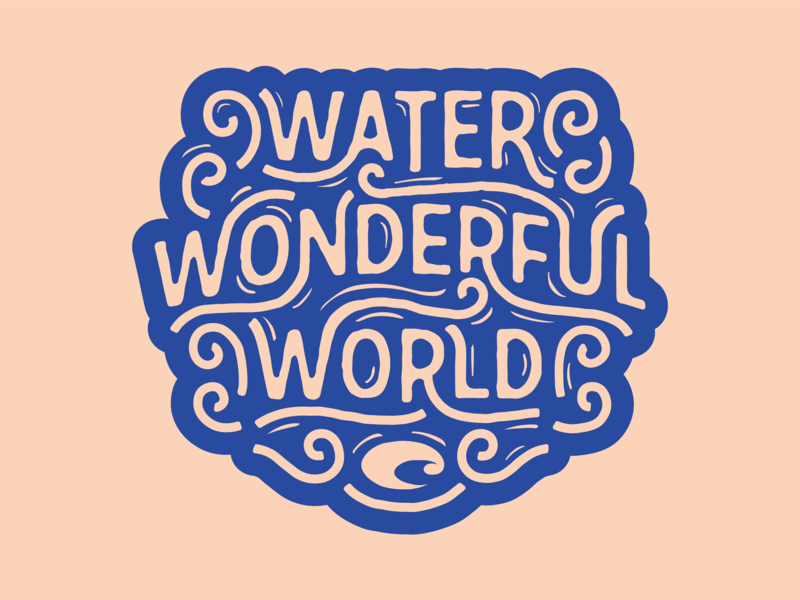 Water Wonderful World ocean sea water patch whimsical typography custom type florida sunglasses costa badge sticker