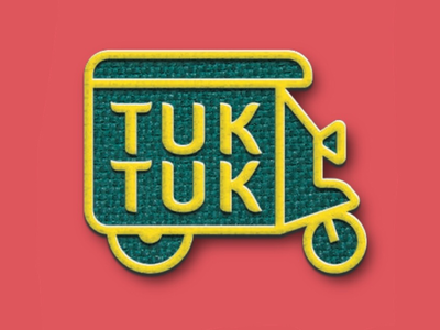 TUK TUK embroidered type scooter motorcycle cab tuk tuk world branding logo badge patch journey travel trip adventure thai thailand