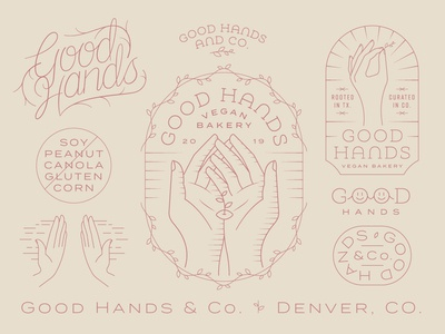 Good Hands light monday vines colorado denver good hand hands earthy bakery vegan floral dainty delicate line work monoline badge logo identity