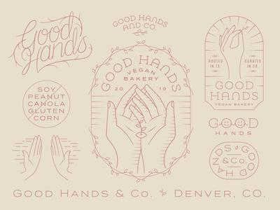Good Hands light monday vines colorado denver good hand hands earthy bakery vegan floral dainty delicate line work monoline badge logo identity