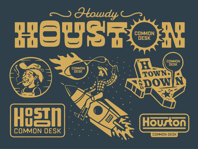 Common Desk Houston monday space city hot sun co working common desk astros astroid typography type western cowboy rockets space texas houston