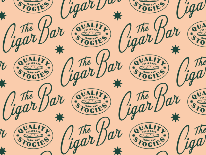 Cigar Bar bar sticker 60s retro vintage star typography custom script lettering identity branding logo badge smoking smoke havana tobacco cigar