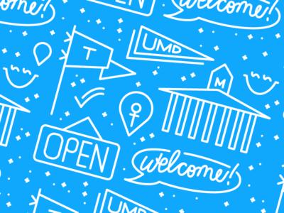 Check-in Banner hackathon flat icon illustrator illustration vector umd pattern icon technica banner