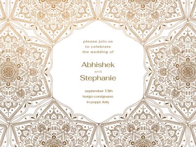 wedding invite invitation wedding pattern mandala