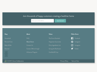 Footer and Registration UI