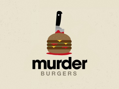 Murder Burgers meat logo burger murder knife blood cheese stab pattie bun