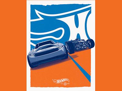 """Est 1968"" Poster screen print vector typography hot wheels poster"
