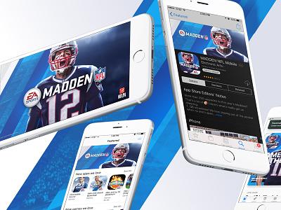 Madden Mobile video game brady ea sports digital art football app store icon app branding key art nfl