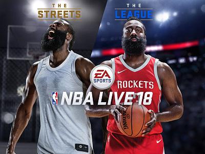 NBA LIVE 18 key art compositing branding video game basketball ea sports harden nba