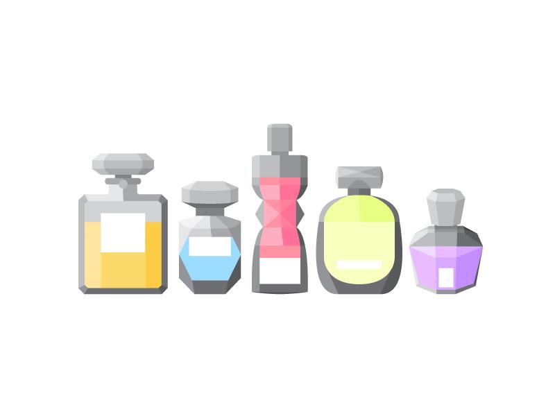 Perfume Bottles logo shape icon illustration graphic colors grid isometric bottle perfume