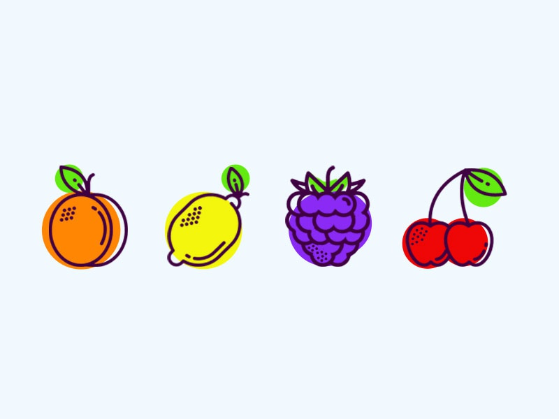 Fruits icons illustration drawing doodle color summer icon fruit