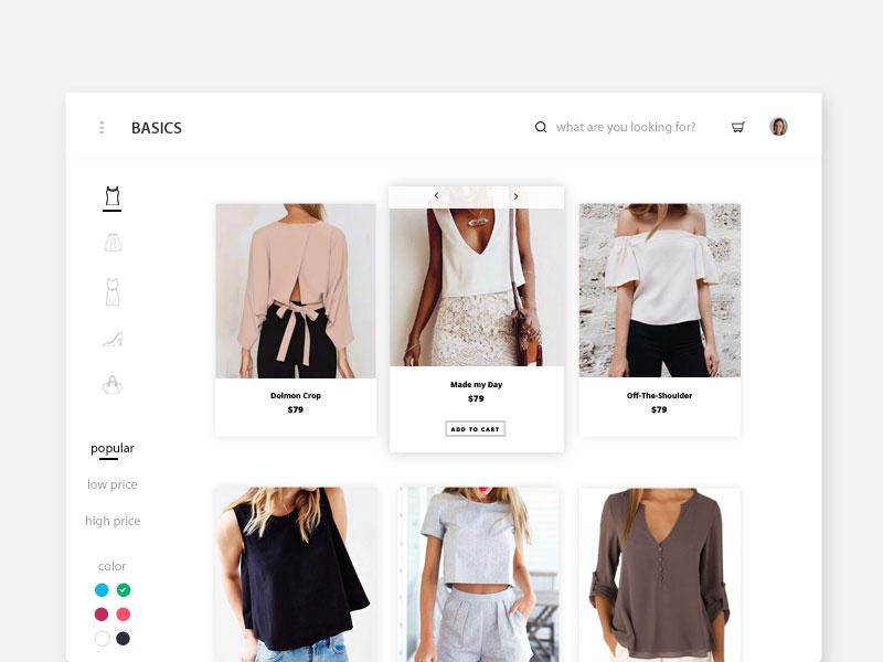 Basics web design website web fashion shopping ecommerce interface ux ui dailyui