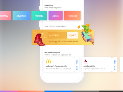 Offer & Coupons discount ticket offer code coupons offer ui ux minimal interface mobile landing page movies